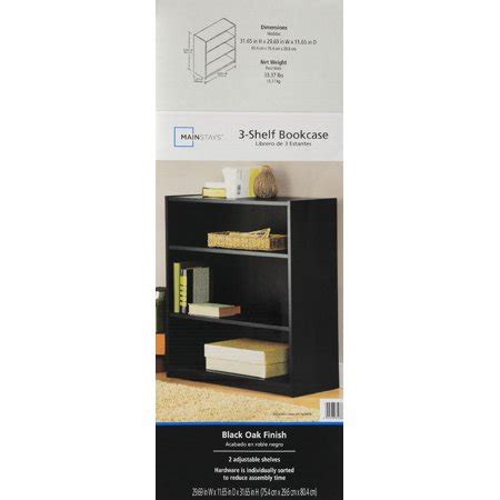 Mainstays 3 Shelf Bookcase Black by Mainstays 3 Shelf Standard Wood Bookcase Colors