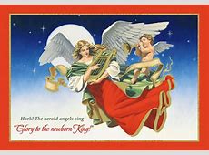 Angels with Harp and Trumpet Box of 18 Religious Christmas
