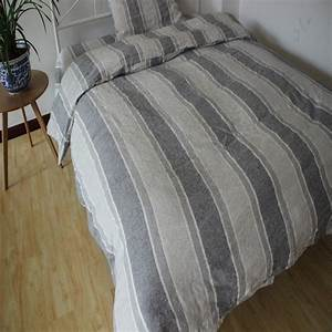 100, Striped, Gray, Washed, Linen, Duvet, Cover, Set, King, Size