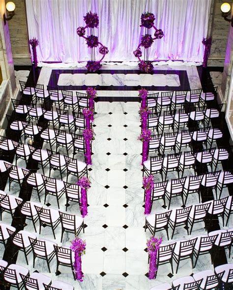 wedding ceremony  purple black  white ceremony