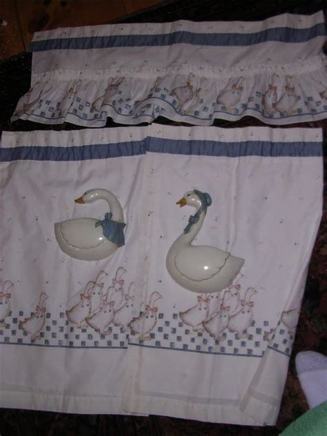 Vintage Blue Goose kitchen curtains with valance and tiers