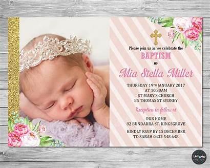 Christening Invitation Baptism Floral Card Invitations Invite