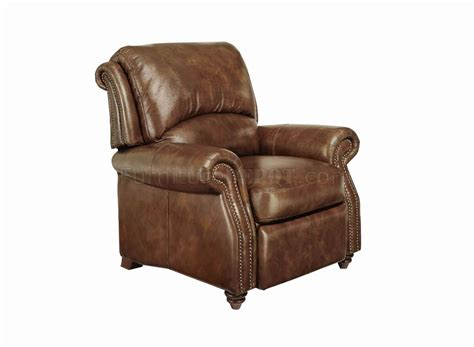 Light Leather Recliner by Leather Italia Classic Light Brown Duplin Push Back Recliner