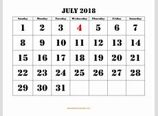 July 2018 Printable Calendar Free Download Monthly