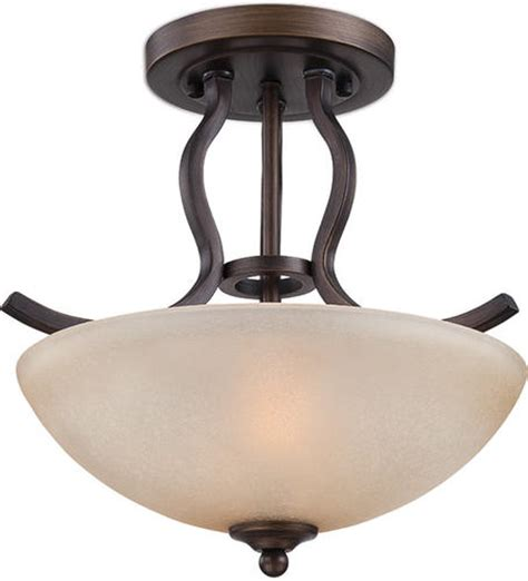 menards flush ceiling lights patriot lighting 174 maleah 13 1 2 quot bronze 2 light semi flush