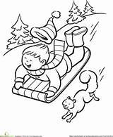 Sledding Worksheet Winter Coloring Education Sled Pages Worksheets Sheets Christmas Holiday Printable Snow Sheet Sleds Printables Print sketch template
