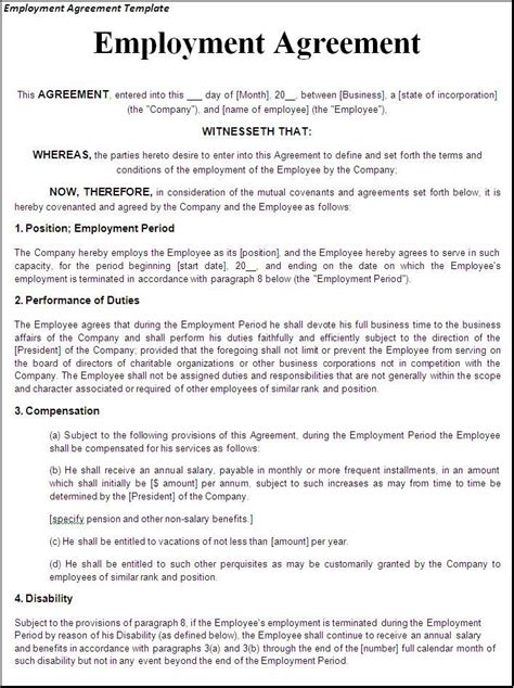 printable sample employment contract sample form laywers