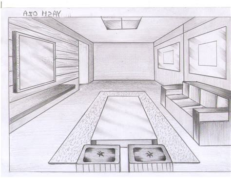 drawn living room  point perspective  clipart