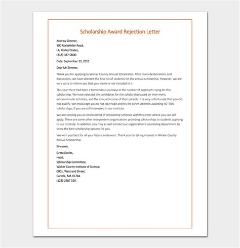 scholarship rejection letter samples formats examples