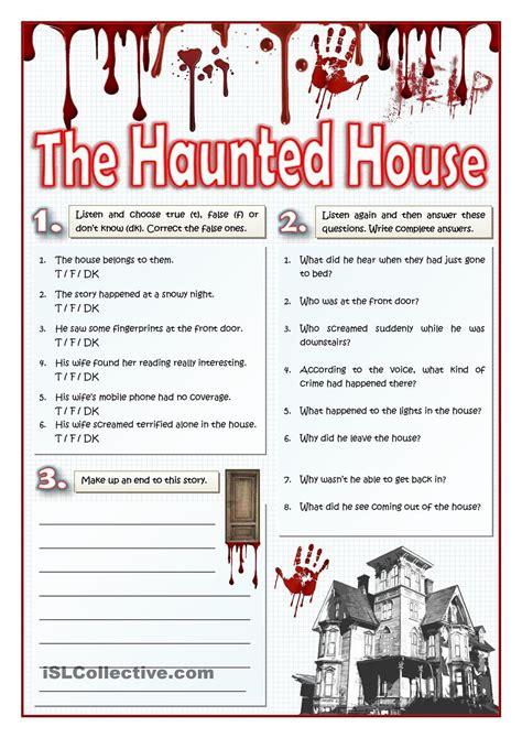 haunted house listening  writing esl worksheets