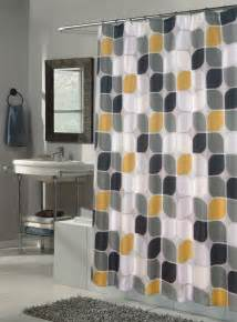 bathroom shower curtain with geometric pattern yellow white and gray colors decofurnish