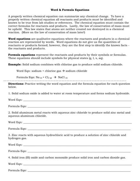 word and formula equations worksheet