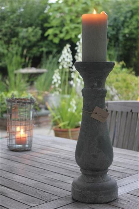 Heavy Rustic Natural Stone Effect Candle Holders Candlesticks Grey ? Greige Home & Garden