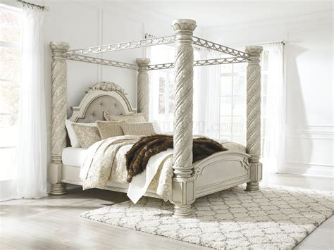 cassimore bedroom   pearl silver  ashley wcanopy bed