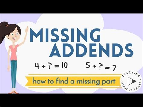 missing addends finding  missing part  kids youtube