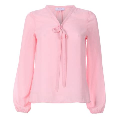 pink blouses womens pink bow neck chiffon blouse