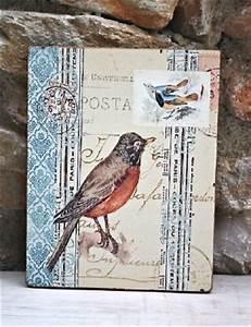 Tableau Pour Salle De Bain : tableau sur bois pour une deco de charme oiseaux brocante salle de bain ~ Dallasstarsshop.com Idées de Décoration