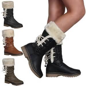 womens size 11 faux fur boots faux fur trim womens grip sole warm winter calf boots shoes size 5 10 ebay