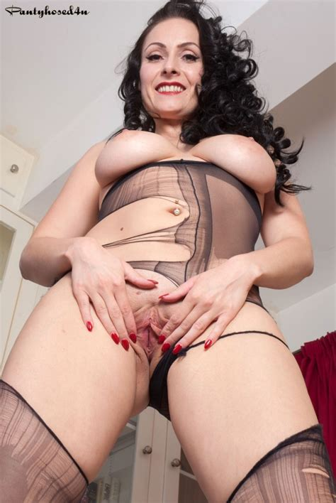 Busty Brit Spoils Her Black Sheer To Waist Pantyhose