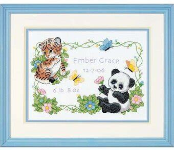 dimensions baby animals birth record stamped cross