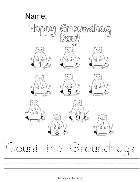count the groundhogs worksheet twisty noodle