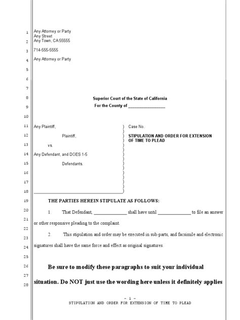 sample stipulation  order  continue trial date