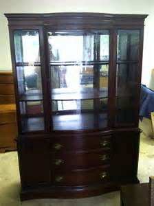 antique vintage bassett furniture china cabinet with