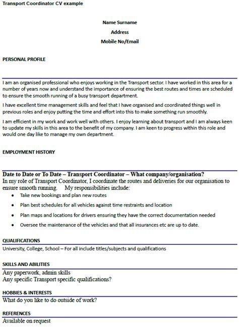 transportation resume exles