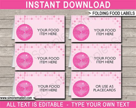 label cuisine disco food labels place cards disco theme