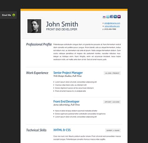 this resume website template offers a built in ajax php sle resume website best templates this template offers