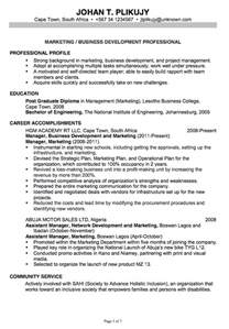 college resume sle 2014 ged chronological resume exle marketing business development