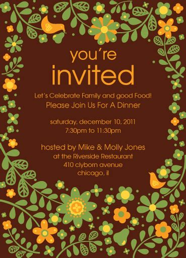 party invitation cards templates brown invitation