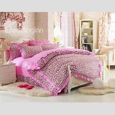 Cute Pink Leopard Print 4 Piece Bedding Setsduvet Cover