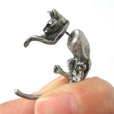 kitty cat animal pet fake gauge stud earrings  silver