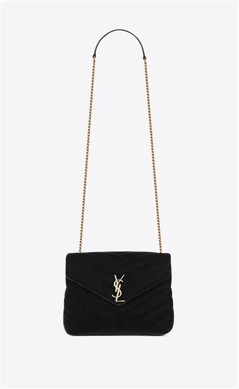 saint laurent small loulou chain bag  black  matelasse velvet yslcom