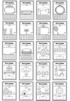 picture word problems printable worksheets addition