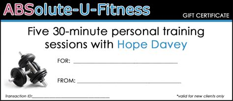 Personal Trainer Gift Certificate Template by Printable Gift Certificates Absolute U Fitness