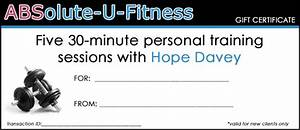 printable gift certificates absolute u fitness With personal trainer gift certificate template