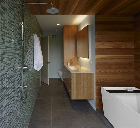 Modern Bathroom With Wood Tile by 20 Rooms With Modern Wood Paneling