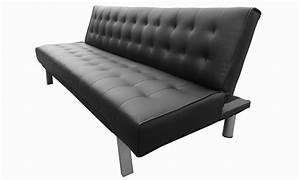 Deco in paris banquette clic clac noir capitonne design for Tapis persan avec canape cuir clic clac