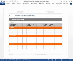 Communication Plan Templates  U2013 Download Ms Word And Excel Spreadsheets