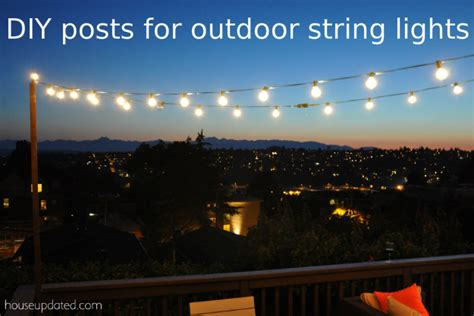 diy poles for outdoor globe string lights on the deck