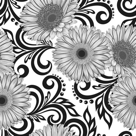 Abstract Flowers Black And White by Black And White Seamless Pattern With Gerbera Flowers And