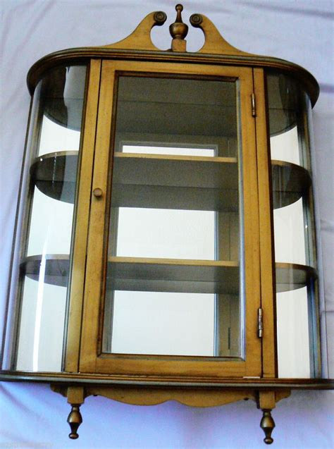 wood and glass curio cabinet butler 3 shelf wood mirror concave curved glass curio