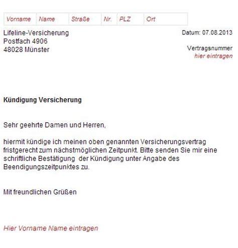 lifeline versicherung kuendigungsschreiben downloaden