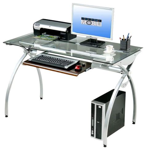 modern glass computer desk techni mobili glass top computer desk in clear modern