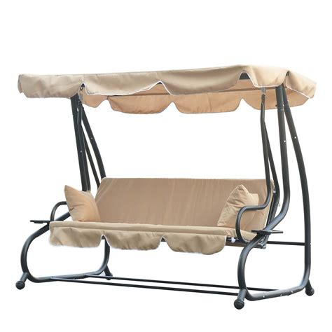 outsunny 3 seater garden swing bench with canopy and