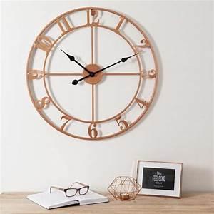 horloge en metal cuivre copper maisons du monde With horloge maison du monde