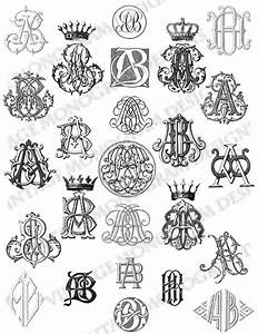 custom monogram collection created using monograms from With vintage monogram letters