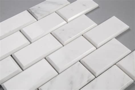 beveled brick  subway tile mosaic carrara marble honed